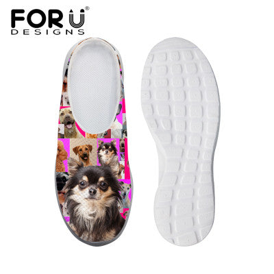 Women's Sandals Denim Small Pink Dog Print Summer Leisure Sandals Mesh Flats Beach Slipper Animal Print