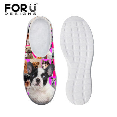 Women's Sandals Denim Cute White Black Dog Print Summer Leisure Sandals Mesh Flats Beach Slipper Animal Print
