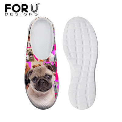 Women's Sandals Denim Cute White Dog Print Summer Leisure Sandals Mesh Flats Beach Slipper Animal Print