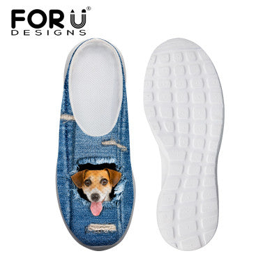 Women's Sandals Blue Denim Effect Cute Brown Dog Print Summer Leisure Sandals Mesh Flats Beach Slipper Animal Print