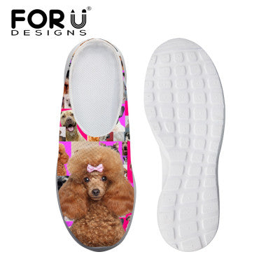 Women's Sandals Denim Brown Poodle Dog Print Summer Leisure Sandals Mesh Flats Beach Slipper Animal Print
