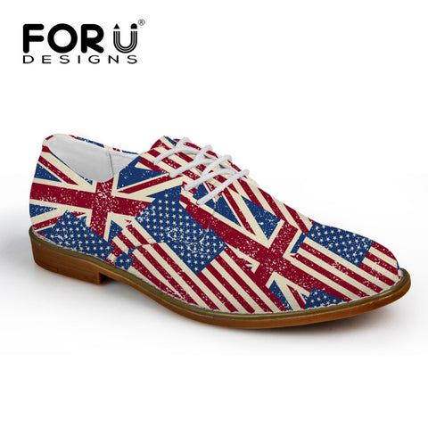 Men's Shoes USA GB Flag Blend  Pattern Lace Up Oxford Shoes Synthetic Leather Casual Flats Best Seller