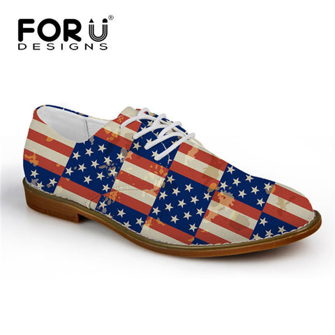Men's Shoes USA Flag Block Pattern Lace Up Oxford Shoes Synthetic Leather Casual Flats
