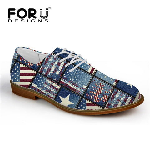 Men's Shoes USA Bold Patch Blue Pattern Lace Up Oxford Shoes Synthetic Leather Casual Flats