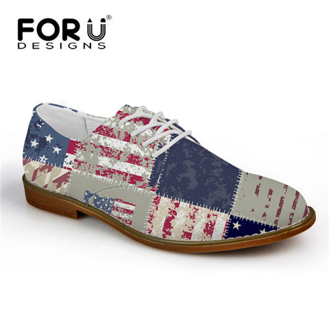 Men's Shoes USA Patchwork Pattern Lace Up Oxford Shoes Synthetic Leather Casual Flats