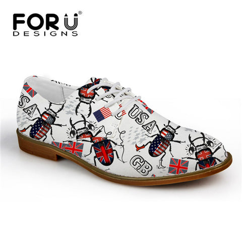 Men's Shoes Pattern GB USA Bugs Lace Up Oxford Shoes Synthetic Leather Casual Flats