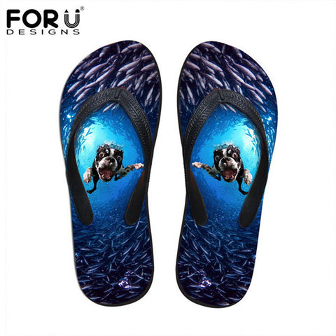 Unisex Flip Flop Sandals Scary Dog Animal Prints Casual Slip-on Flats