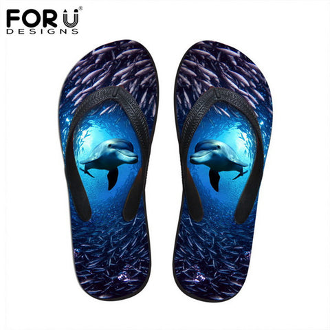 Unisex Flip Flop Sandals Dolphin Ocean Animal Prints Casual Slip-on Flats