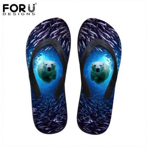 Unisex Flip Flop Sandals Polar Bear Animal Prints Casual Slip-on Flats