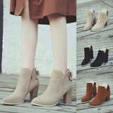Women's Pointed Toe Bow Ankle Boots + High Heels Zipper Martin Style Shoes
