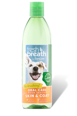 TROPICLEAN ORAL CARE WATER ADDITIVE FOR DOGS PLUS SKIN AND COAT