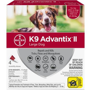 4 MONTH K9 Advantix II RED for Large Dogs (21-55 lbs)