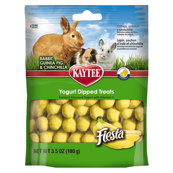 Kaytee Fiesta Banana Flavor Yogurt Dipped Treats for Rabbit, Guinea Pig and Chinchilla