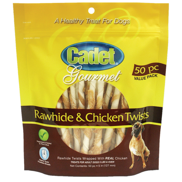 Cadet Premium Gourmet Chicken & Rawhide Treats 50ct