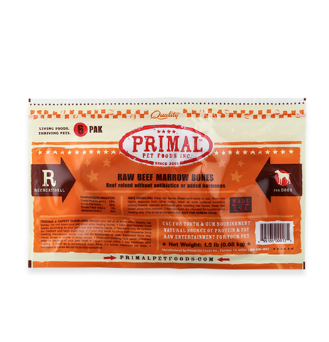 PRIMAL (6 PACK) RAW RECREATIONAL BEEF MARROW BONES