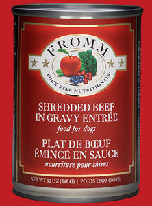 Fromm Dog Shredded Beef in Gravy Entrée cans