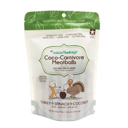 Coco Therapy Coco-Carnivore Meatballs - Turkey, Spinach, & Coconut 2.5oz