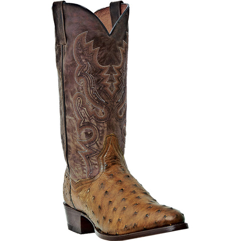 DAN POST MEN'S  OSTRICH TEMPE SADDLE BROWN - CHOCOLATE