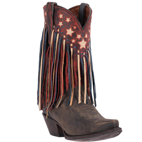 DAN POST WOMEN'S  LEATHER LIBERTY FRINGE BROWN