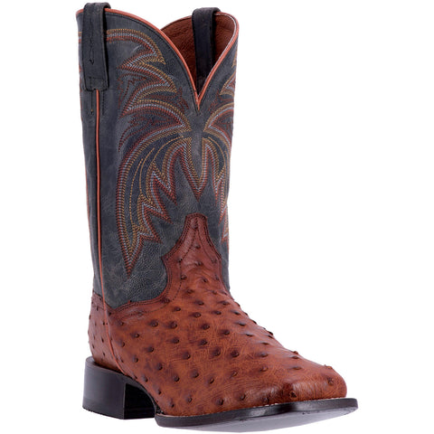 DAN POST MEN'S  OSTRICH CALHOUN COGNAC - BLACK