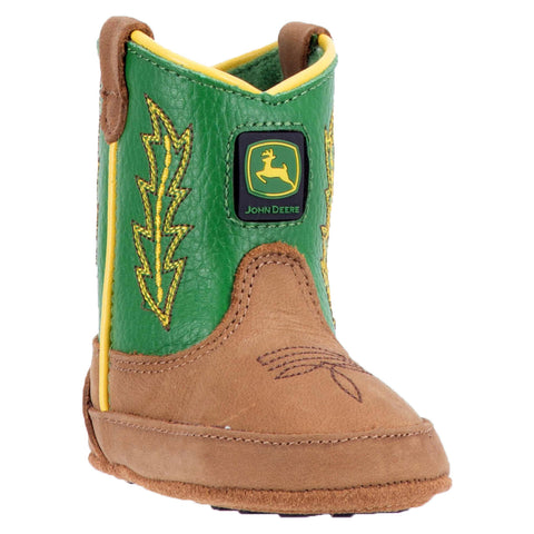 JOHN DEERE INFANT'S  LEATHER JOHNNY POPPER INFANT TAN - GREEN