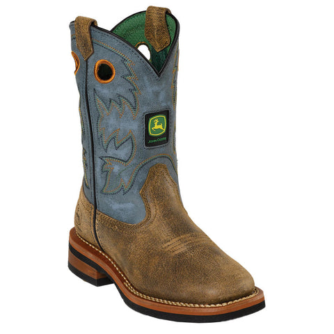 JOHN DEERE CHILDREN'S  LEATHER JOHNNY POPPER CHILDREN'S BROWN - BLUE