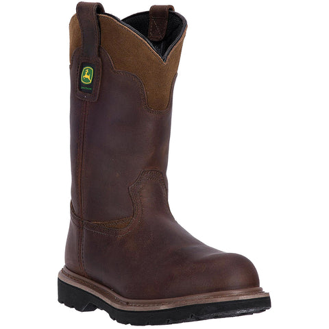 "JOHN DEERE MEN'S  LEATHER 11"" STEEL TOE BROWN"