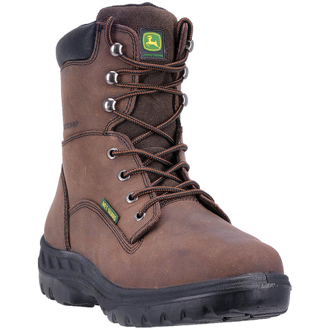"JOHN DEERE MEN'S  LEATHER 8"" WTRPRF SAFETY TOE MET GUARD BROWN"