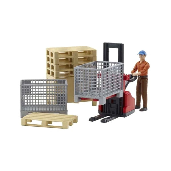 Bruder Toys Man with Logistics Set Bworld 62200