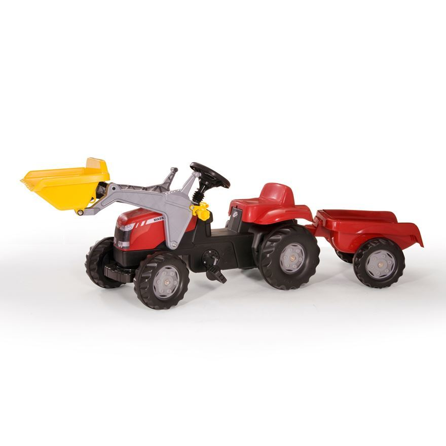 Rolly Toys Medium Massey Ferguson Pedal Tractor and Trailer with Loader