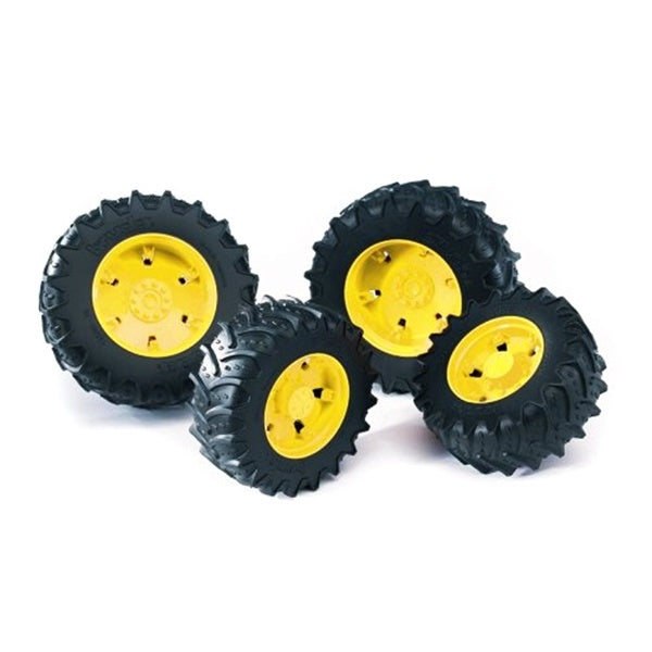 "Bruder Toys Twin Wheels Set ""K"" - Yellow White Grey Rims"