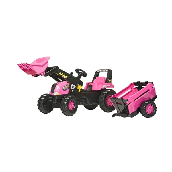 Rolly Toys Pink Large Tractor with Loader and Trailer