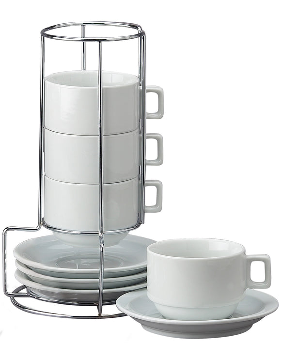9-Piece Stackable Latte Coffee – Set of 4