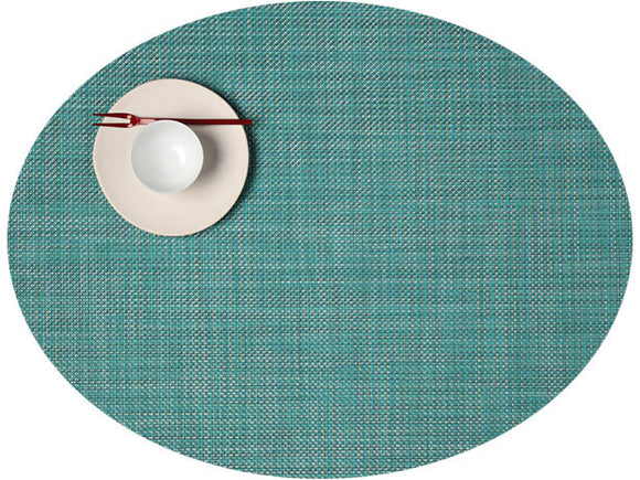 Chilewich Mini Basketweave Oval Placemat – Turquoise