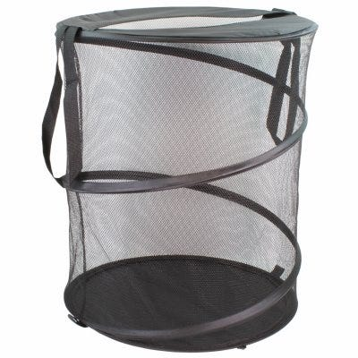 Collapsible Clothes Hamper – Black Mesh – 19 x 24-In.