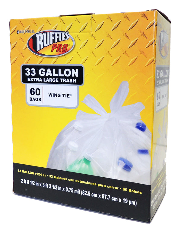 Ruffies Pro Wing Tie Extra Large Trash Bags – 33 Gallon – 60 Count
