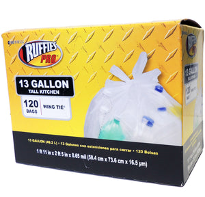 Ruffies Pro Wing Tie Tall Kitchen Trash Bags – 13 Gallon – 120 Count