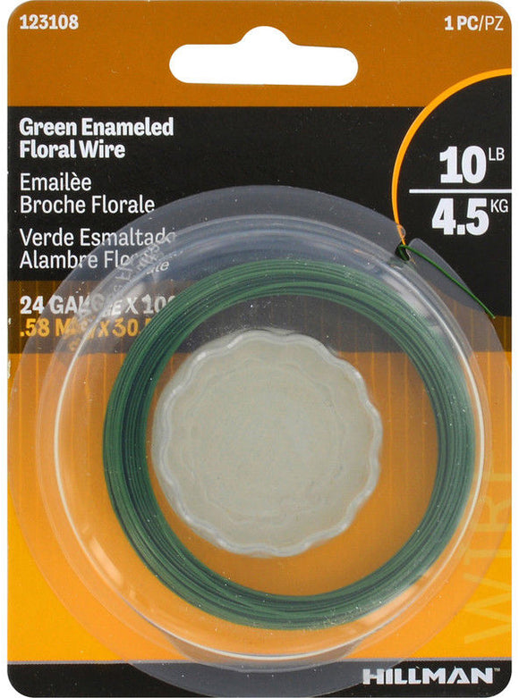 Hillman 10lb Green Enameled Floral Wire - 25ft