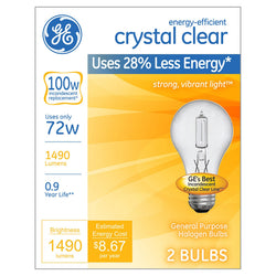 GE Energy Efficient A19 Crystal Clear Light Bulb, 100W Equivalent, 2 Pack