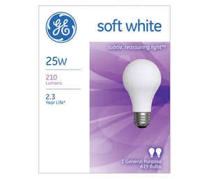 GE Incandescent A19 Soft White Light Bulb, 25W, 2 Pack