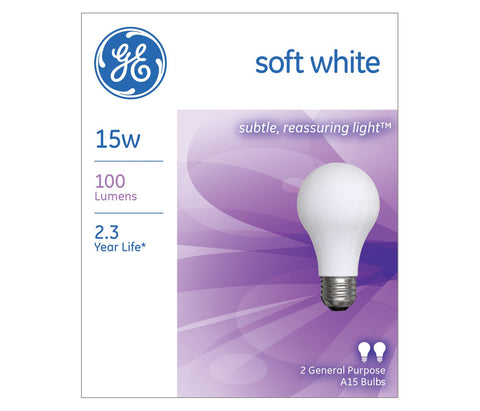 GE Incandescent A15 Soft White Light Bulb, 15W, 2 Pack