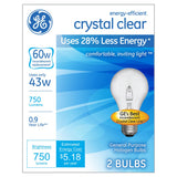 GE Energy Efficient A19 Crystal Clear Light Bulb, 60W Equivalent, 2 Pack