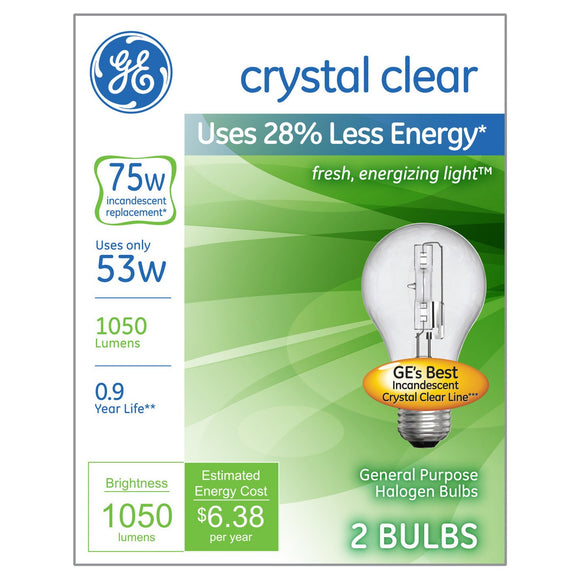 GE Energy Efficient A19 Crystal Clear Light Bulb, 75W Equivalent, 2 Pack