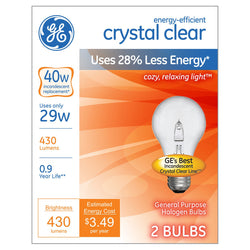 GE Energy Efficient A19 Crystal Clear Light Bulb, 40W Equivalent, 2 Pack