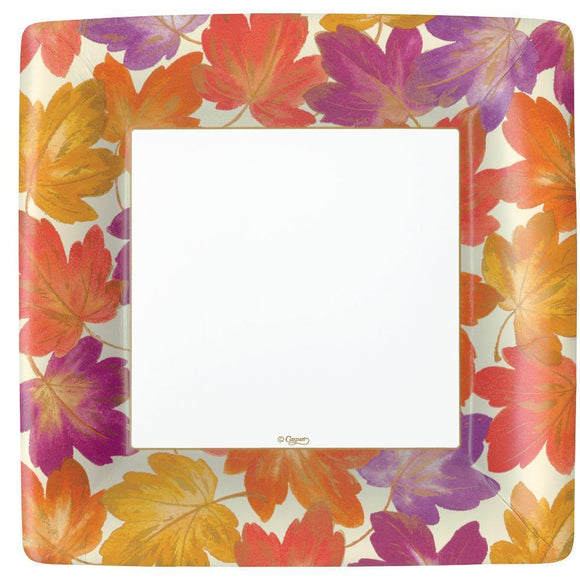 Caspari Fallen Leaves Square Paper Dinner Plates - 8pk
