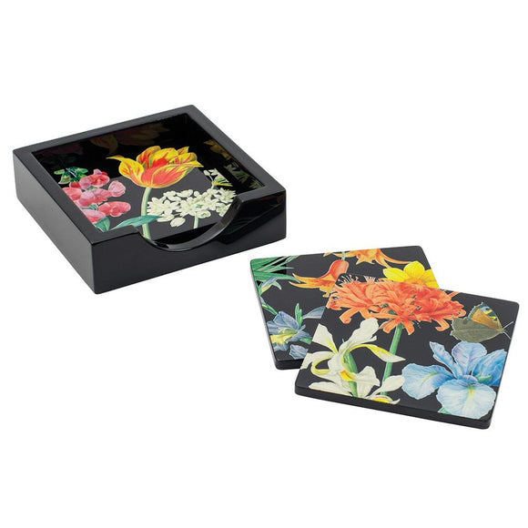 Caspari Redoute Floral Square Lacquer Coasters in Holder – Set of 4