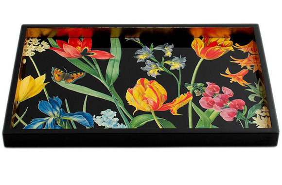 Caspari Redoute Floral Lacquer Vanity Tray in Black