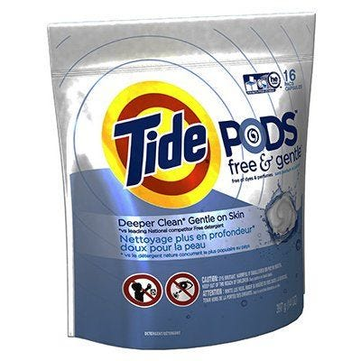 Tide HE Laundry Detergent Pods – Free & Gentle – 16 Count