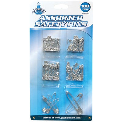 Safety Pins – Assorted Sizes & Colors – 108-Ct.