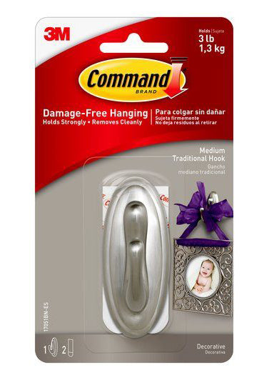 Command Medium Traditional Brushed Nickel Hook – 3lb
